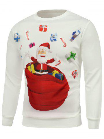 Sale Christmas Santa Gift Printed Long Sleeve Sweatshirt WHITE 3XL