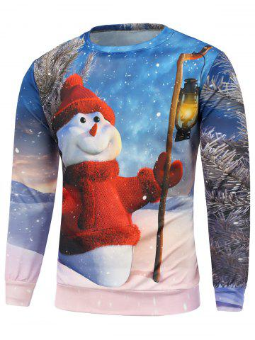 Fashion Christmas Snowman Printed Long Sleeve Sweatshirt BLUE 3XL
