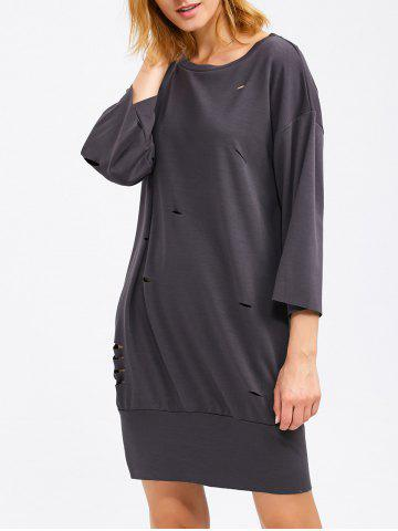 Drop Shoulder Ripped Sweatshirt Dress