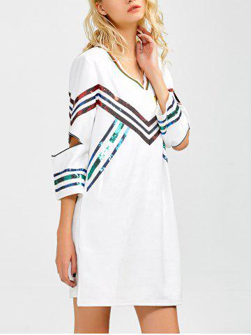 Trendy Striped Sequins Cut Out T-Shirt Dress