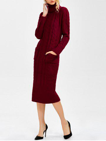 Fashion Long Sleeve Turtleneck Cable Knit Sweater Dress