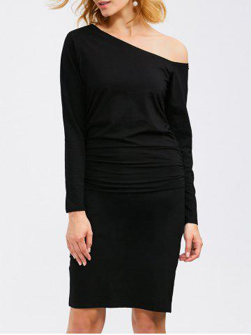 Latest Long Sleeve Skew Neck Ruched Bandage Dress BLACK XL