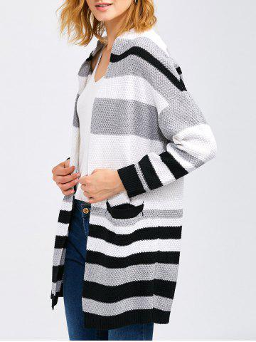 Fashion Crochet Pattern Striped Cardigan With Pocket