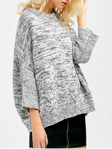 Discount Batwing Sleeve Crew Neck Sweater GRAY ONE SIZE