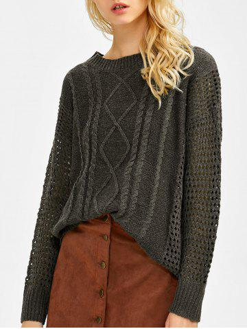 Affordable Drop Shoulder Hollow Out Cable Knit Sweater BLACKISH GREEN ONE SIZE