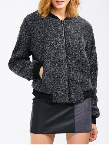 Fancy Faux Shearling Jacket With Pocket