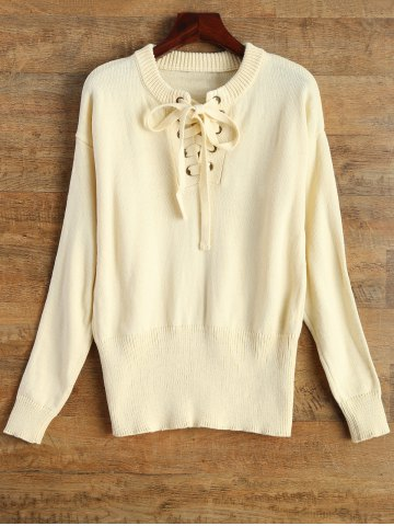 Sale Lace-Up Casual Fitting Sweater BEIGE XL
