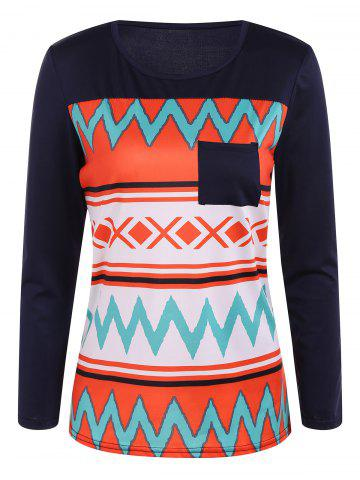 Cheap Zigzag Printed One Pocket T-Shirt ORANGE RED XL