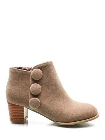 Best Buttons Chunky Heel Suede Ankle Boots