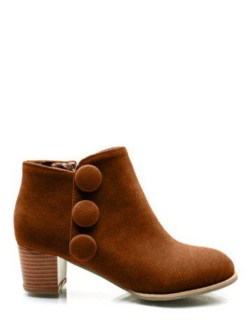 Boutons talon Chunky bottes Suede Ankle Brun 38