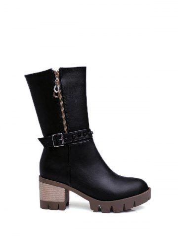 Store Chunky Heel Buckle Rivet Mid Calf Boots