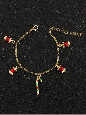 Christmas Bells Candy Cane Charm Bracelet - GOLDEN