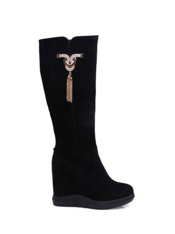 Best Tassel Rhinestone Metal Hidden Wedge Boots BLACK 39