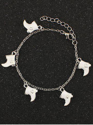 Discount Christmas Moon Boots Charm Bracelet WHITE