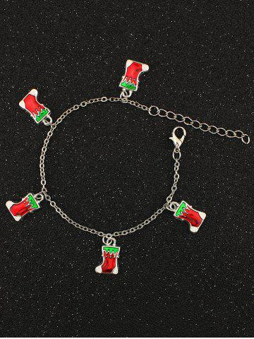 Chic Christmas Boots Charm Bracelet SILVER