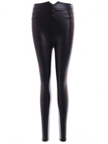 Shop Faux Leather Buttons Embellished Skinny Leg Pants BLACK 2XL