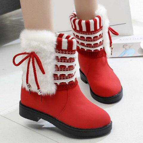 Chic Faux Fur Knit Panel Short Boots RED 39