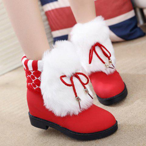 Furry Panel Knit Short Bottes Rouge 39