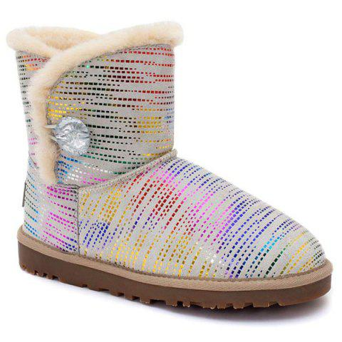 Store Colored Stripes Fuzzy Snow Boots