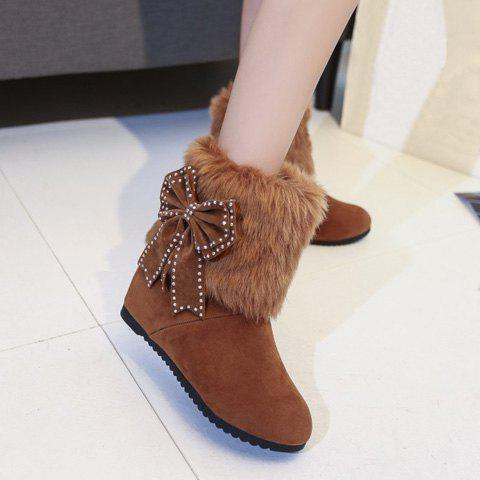 Fancy Hidden Wedge Bowknot Snow Boots