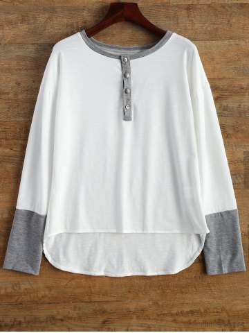 New Buttoned Contrast Trim Long Sleeve Tee