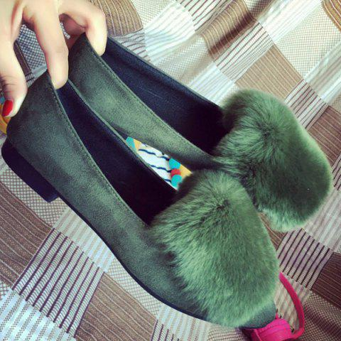 Buy Faux Fur Pointed Toe Flat Shoes - Green 39