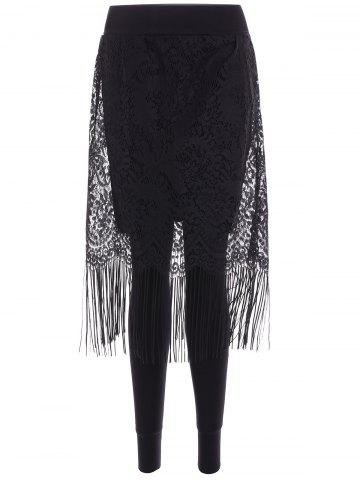 Discount Fleece Fringe Lace Skirted Leggings