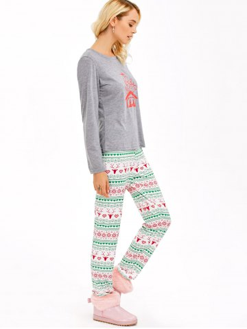 Chic Graphic T-Shirt and Heart Print Leggings - 2XL GRAY Mobile