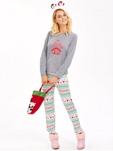 Buy Graphic T-Shirt and Heart Print Leggings - 2XL GRAY Mobile