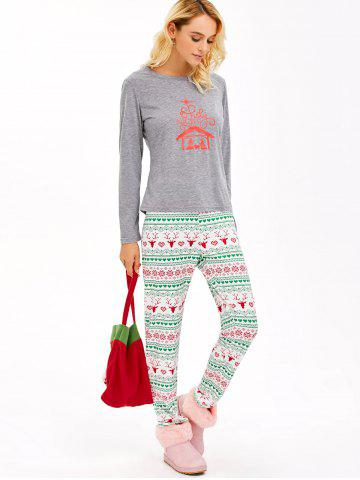 Sale Graphic T-Shirt and Heart Print Leggings - 2XL GRAY Mobile