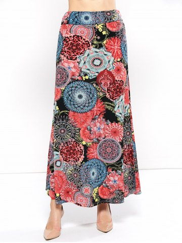 Cheap Mid Rise Floral Print Skirt COLORMIX 3XL