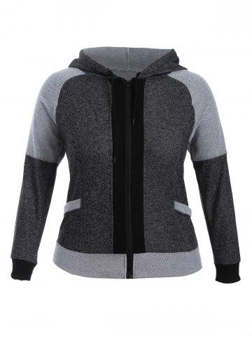 Sale Colour Block Zip Up Hoodie BLACK/GREY XL