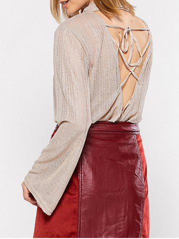 New Cowl Neck Lace-Up Blouse