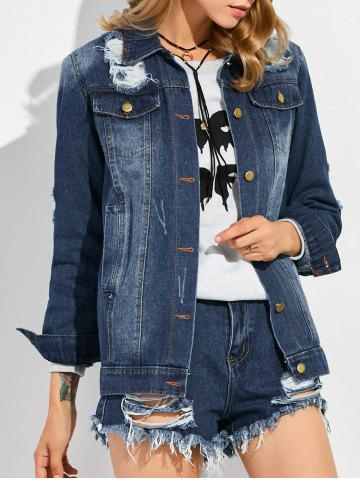 Single Breasted Ripped Denim Jacket - Deep Blue - L