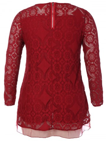 Cheap Long Sleeve Patchwork Lace Plus Size Dress - 3XL RED Mobile