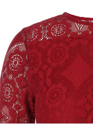 Sale Long Sleeve Patchwork Lace Plus Size Dress - 3XL RED Mobile