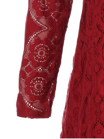 Online Long Sleeve Patchwork Lace Plus Size Dress - 3XL RED Mobile