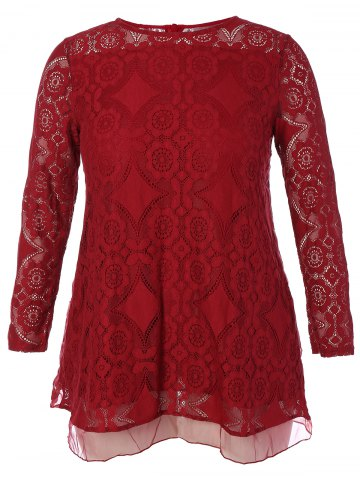 Online Long Sleeve Patchwork Lace Plus Size Dress - L RED Mobile