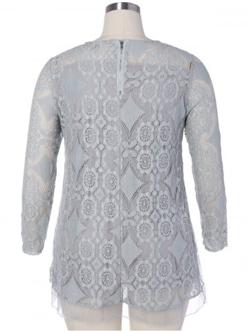 Unique Long Sleeve Patchwork Lace Plus Size Dress - 3XL GRAY Mobile