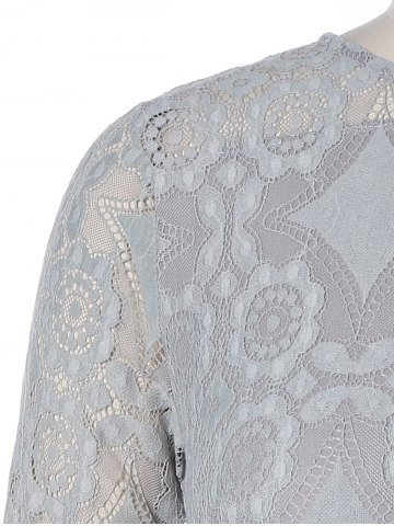 Shops Long Sleeve Patchwork Lace Plus Size Dress - 2XL GRAY Mobile