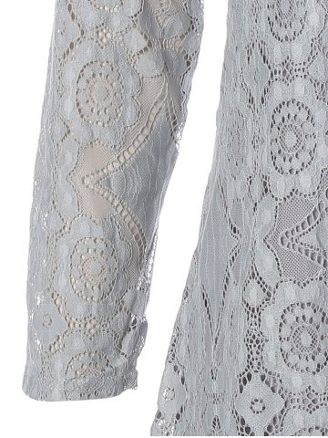 Sale Long Sleeve Patchwork Lace Plus Size Dress - 2XL GRAY Mobile