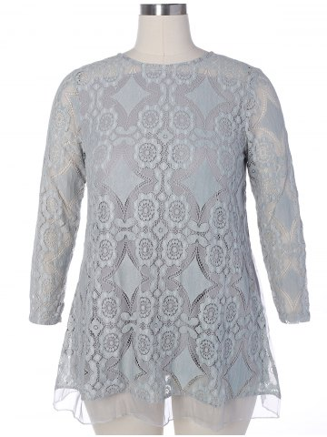 Unique Long Sleeve Patchwork Lace Plus Size Dress - 2XL GRAY Mobile