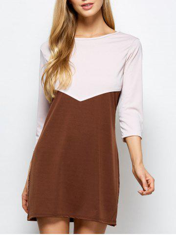 Color Blocked Shift Dress - Coffee With Khaki - S