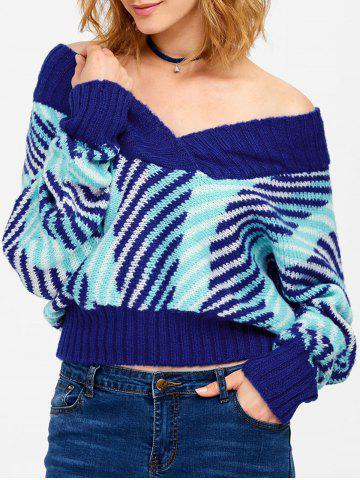Buy Batwing Off Shoulder Striped Short Sweater BLUE ONE SIZE