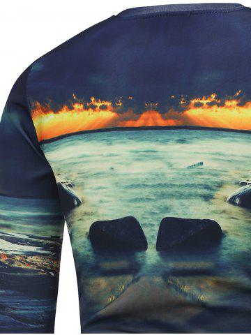 New Graphic Printed Crew Neck Sweatshirt - 2XL BLUE Mobile