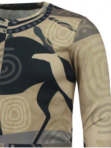 Outfit Abstract Graphic Printed Crew Neck Sweatshirt - 2XL COLORMIX Mobile