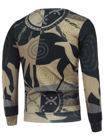 Cheap Abstract Graphic Printed Crew Neck Sweatshirt - 2XL COLORMIX Mobile
