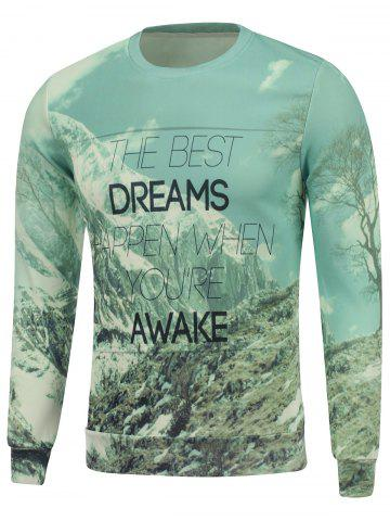 Dreams Snow Mountain Printed Crew Neck Sweatshirt