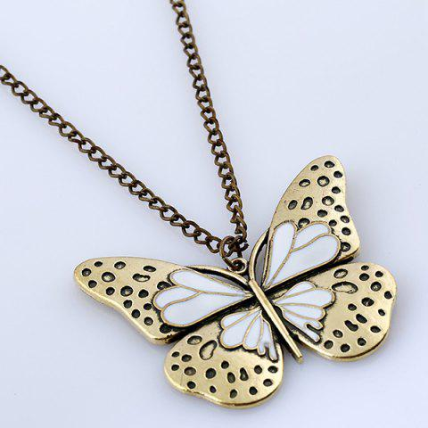 Online Butterfly Pendant Sweater Chain - WHITE  Mobile