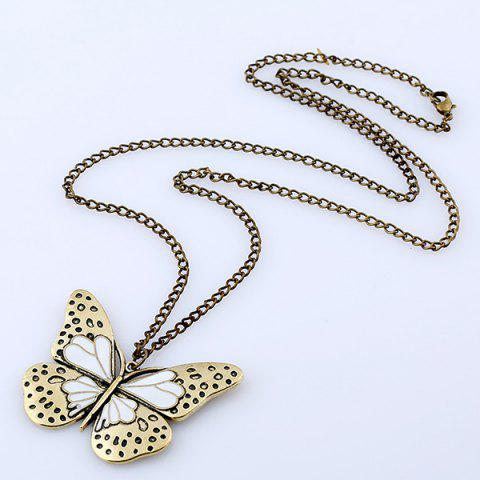 Outfit Butterfly Pendant Sweater Chain - WHITE  Mobile